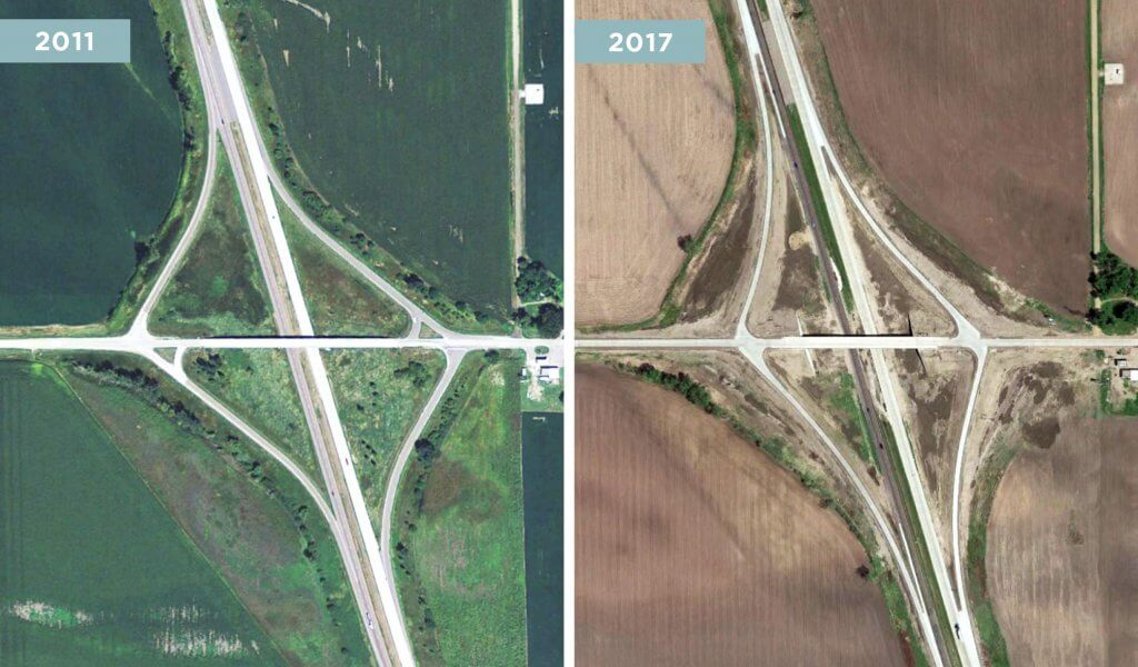 Aerial before and after image of a rural highway and interstate interchange system.