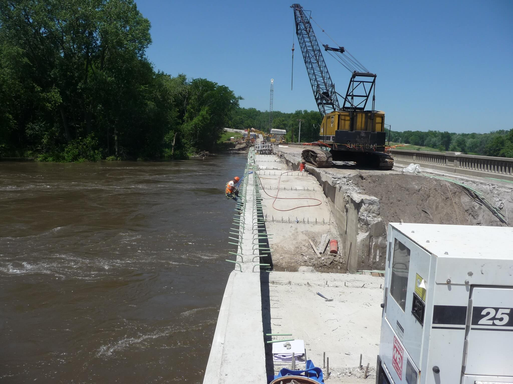 earth fill being removed from eureka bridge during rehab
