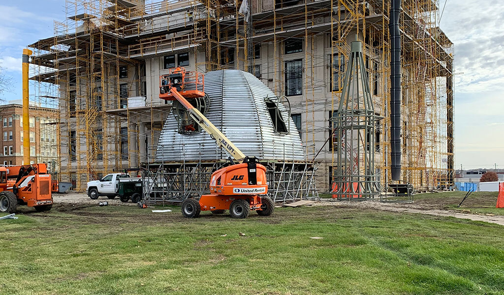 Courthouse dome assembly before installation onto courhouse.
