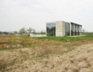 Detention pond controls the stormwater runoff for the University of Iowa Hall of Fame building