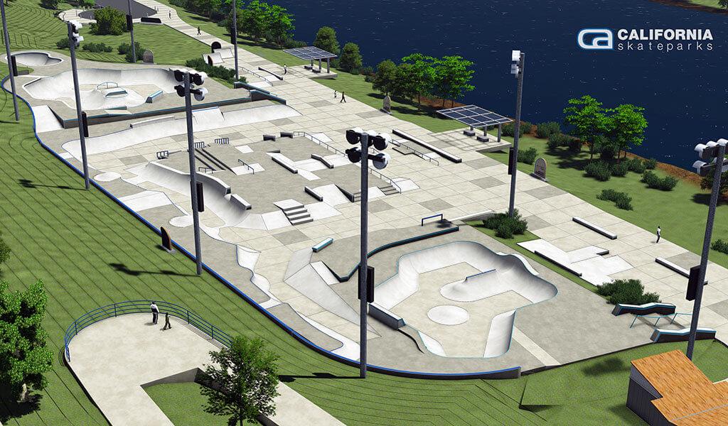 rendering showcasing stadium lighting over skate park
