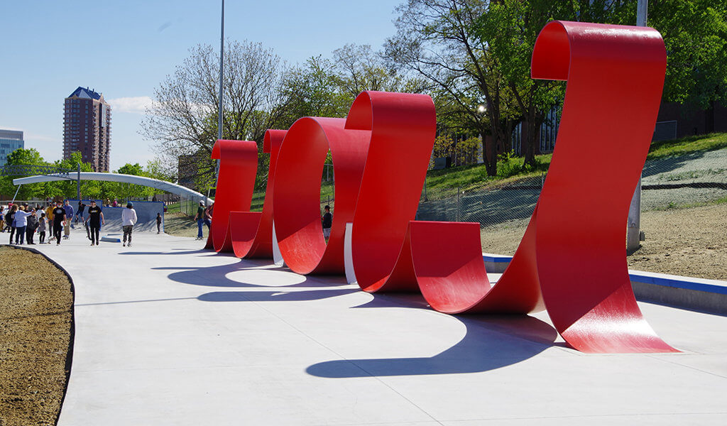The skateable sculpture feature along the riverfront welcomes all to this new skating destination.