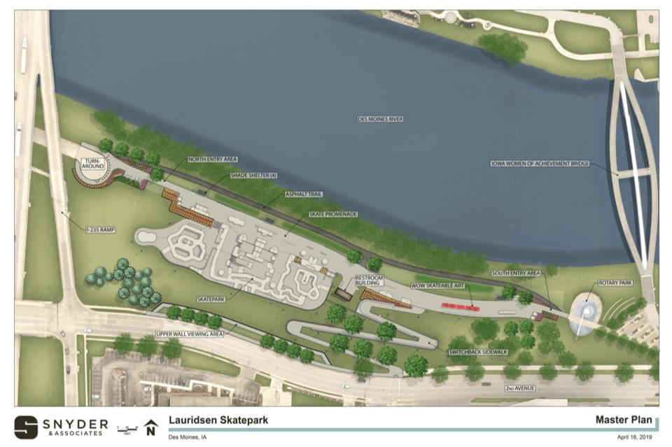 aerial view of rendering for skate park
