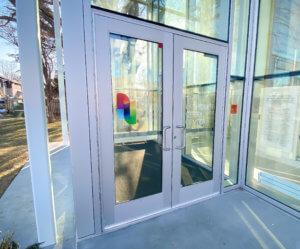 glass doors to the Lauridsen Opera Center