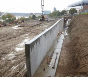 cement retaining wall in construction dirt