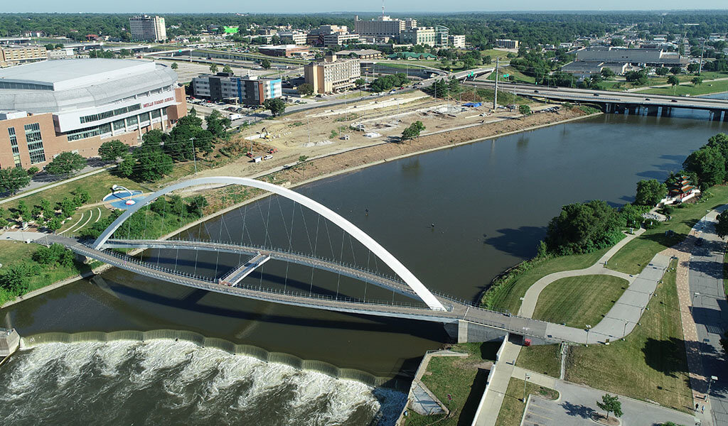 aerial photo of river and skatepark construction