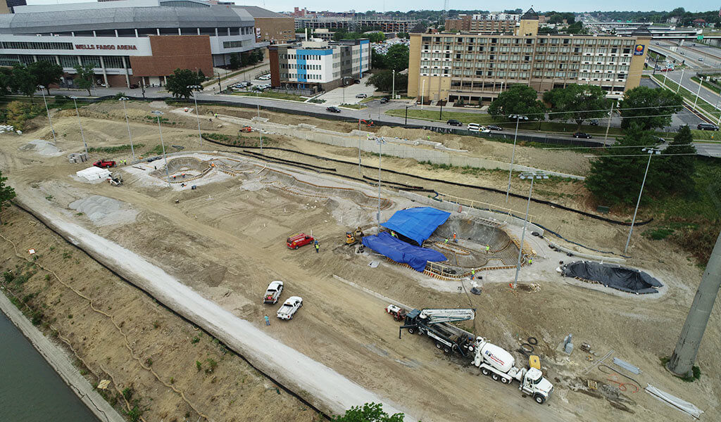 aerial photo of construction on skatepark